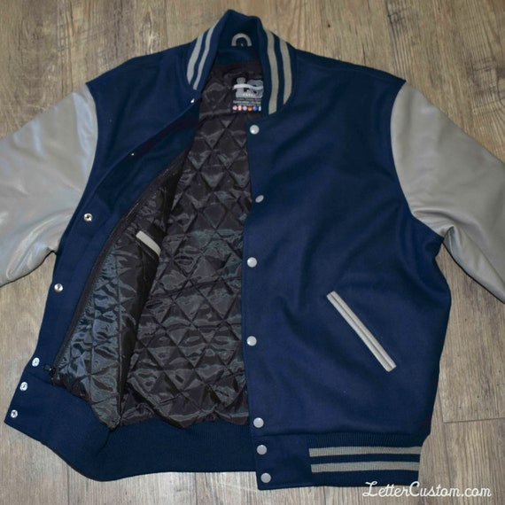 Varsity Letterman Jacket Gray Genuine Leather & Blue Wool Diamond Stitch Liner Double Stripe Stand Up Collar Quality USA Mens
