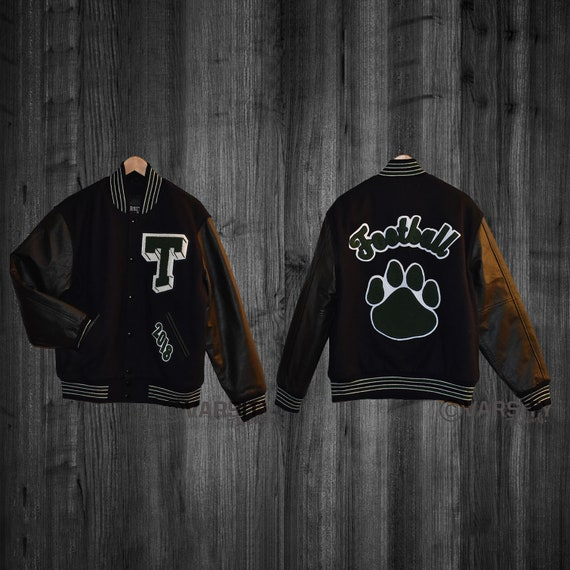 Varsity Letterman Jacket White Genuine Leather & Forrest Green Wool CH Chenille Letters Premium Handmade