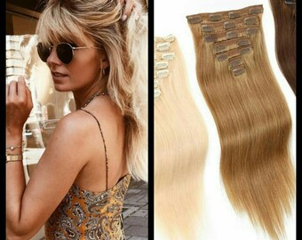 Full Head Natural Straight Clip- In Human Hair Extensions