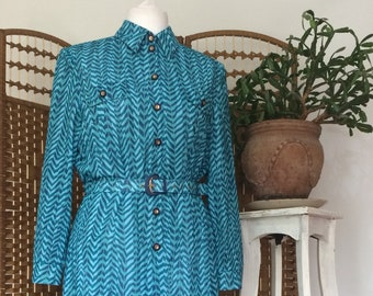 Vintage 1980s shirt dress shirt waister teal blue long sleeved midi length dress with matching belt