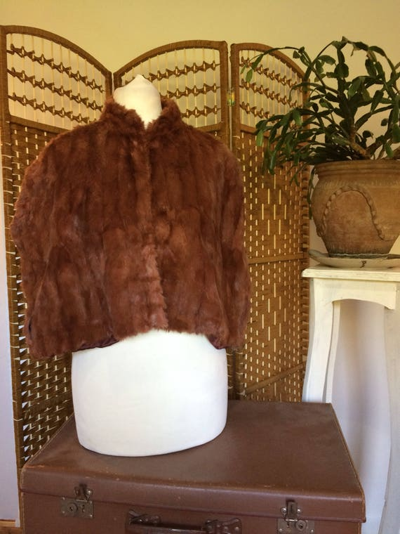 Antique 1920s/ 30s real brown fur cape size small