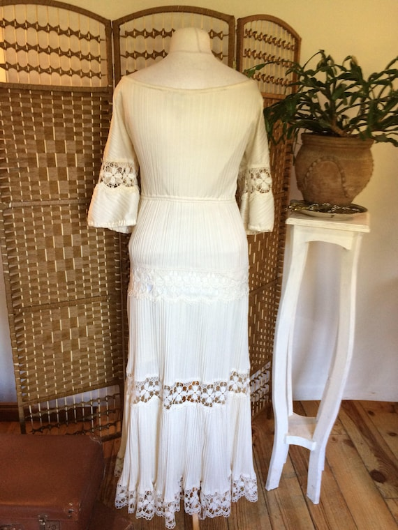 size 14 Usher UK in maxi Frank Vintage dress cream size 12 1970s large medium awqOHEv