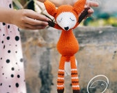 Crochet Doll For Sale, Amigurumi Foxy Fox, Crochet Amigurumi Fox, Amigurumi doll for sale, Sleeping Fox, Cuddle Fox Doll, Crochet Amigurumi