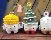 SET OF 3 ITEMS - Christmas Gift Crochet for Baby - Crochet Amigurumi Candle - ChrismasTree - Angel