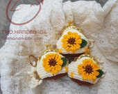 SET OF 3 ITEMS - crochet Flower Coin Purse with metal frame - keychain - handmade gift bag -  padlock bag - padlocks backpack -  keyring