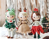 Crochet Elf Amigurumi, Crochet Doll For Sale, Amigurumi Elf, Princess Reindeer Elf, Princess Poinsettia Elf, Princess Tree Elf, toys for kid