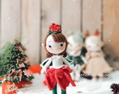 Princess Poinsettia Elf Amigurumi Crochet, Christmas Doll crochet, Christmas Elf Amigurumi, Princess Elf Poinsettia, Crochet Doll For Sale