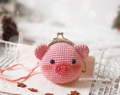 Crochet Piggy Coin Purse Metal Frame, Pig Mini Wallet Frame, Crochet Piggy Wallet Frame For Sale, Crochet Pig Purse, Pouch Coin Purse Frame