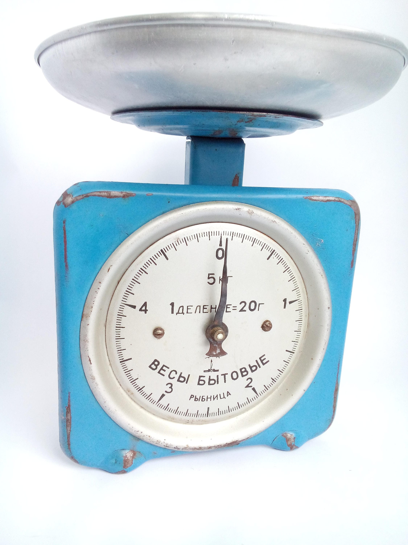 Vintage kitchen scale of blue color Mid century balance | Etsy