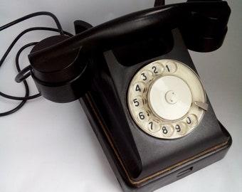 Vintage rotary phone Bakelite phone Black dial phone Mid century phone Vintage telephone Soviet phone Rotary dial desk telephone