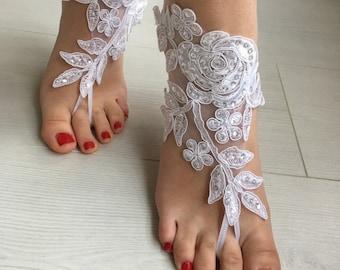 a984d860914e8 White Lace Barefoot Sandals
