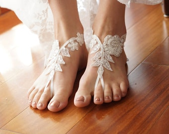 51a5d7432cc0c Ivory Beach wedding barefoot sandals wedding shoes prom party steampunk  bangle beach anklets bangles bride bridesmaid gift