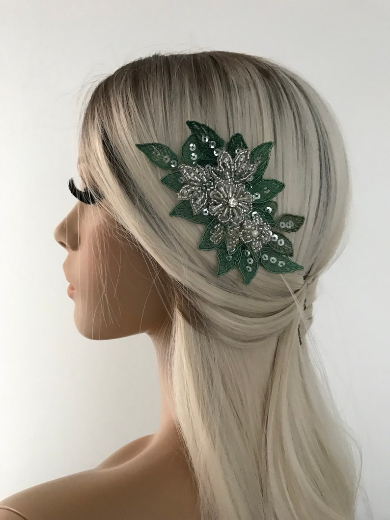 OOAK Emerald Green Lace comb Hair Accessories Bridal Lace Comb wedding lace comb Bridal accessories Bridal hairpiece Hair Accessory