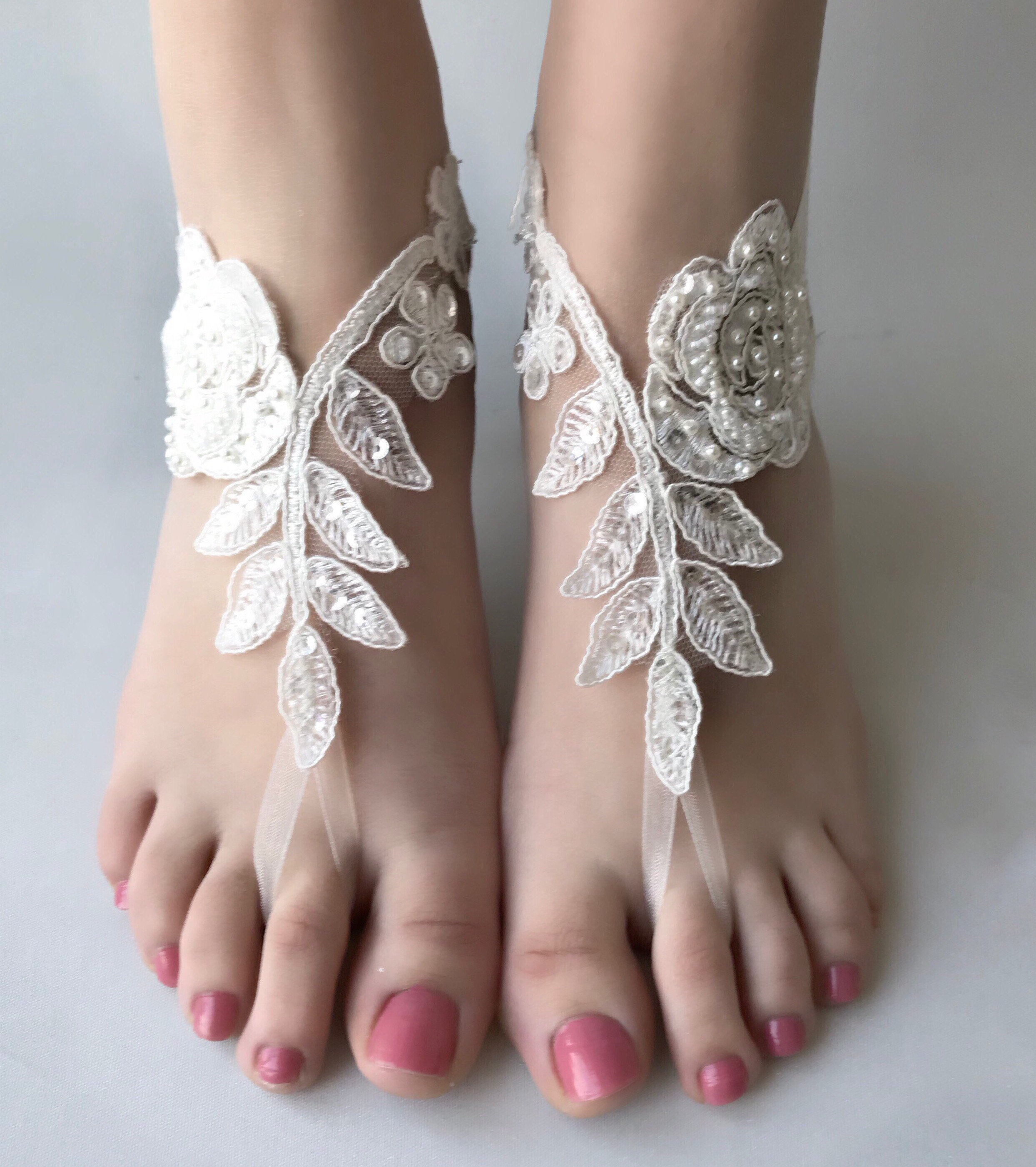 2132a2335c8f4 Ivory Beach wedding barefoot sandals wedding shoes prom party steampunk  bangle beach anklets bangles bride bridesmaid gift