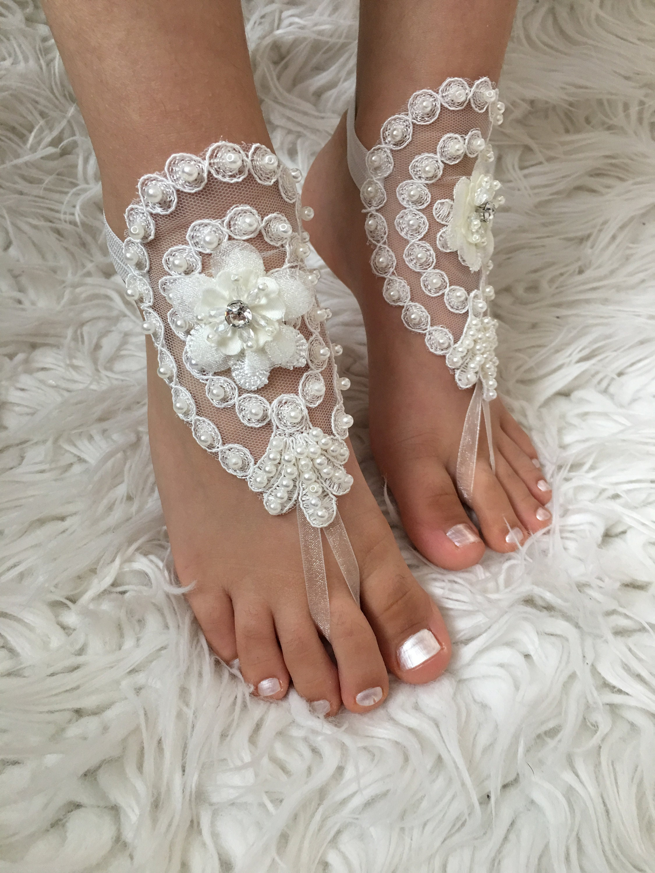 19c48d5bfeab Flower girl ivory lace barefoot sandals Pearl beach wedding foot accessory  baby jewelry modern anklet kids shoes
