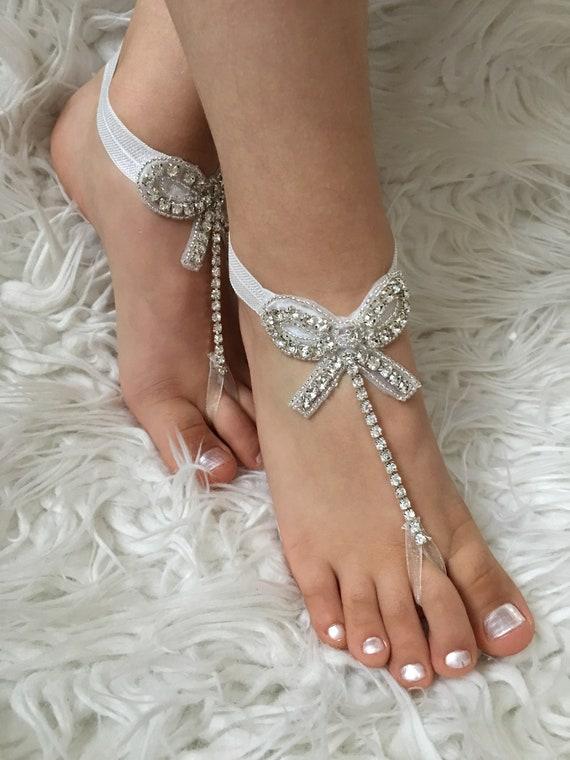 Flower Girl Barefoot Sandals Rhinestone