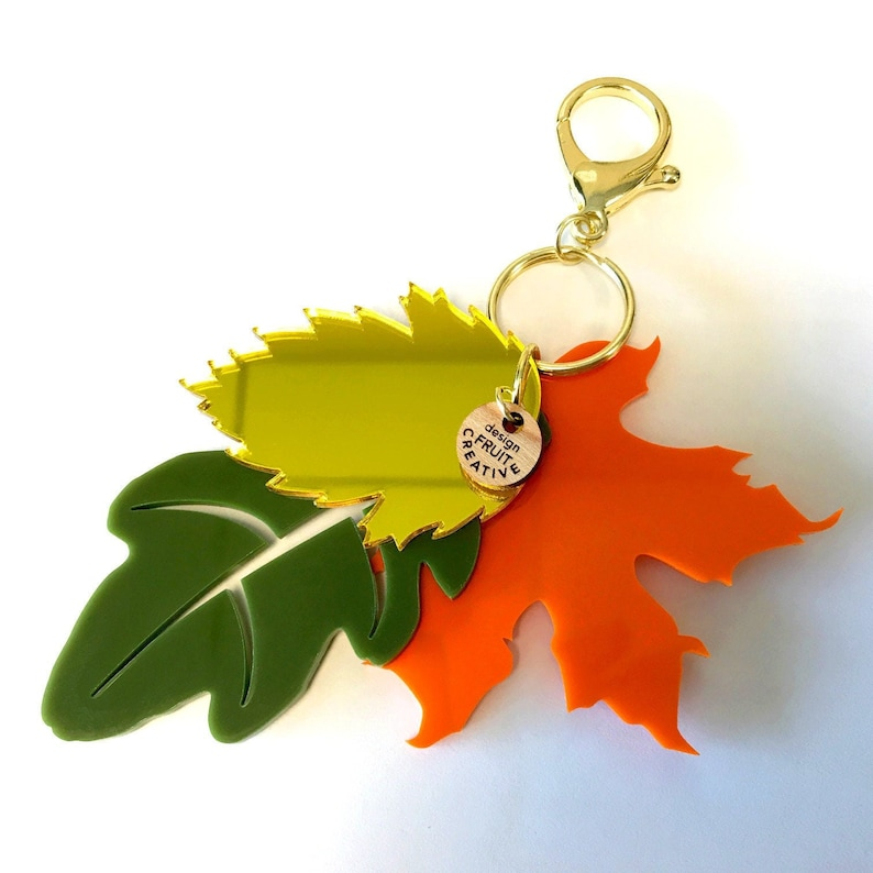 Fall Keychain Combo Purse Fob Keychain Fall Leaves Autumn image 0