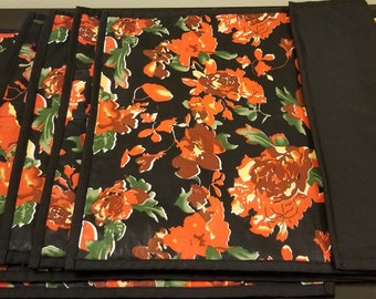 Red flowers on a black background table mats set(6)