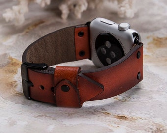 Apple Watch band, 42mm, 38mm, Leather watch band, Apple watch strap, iwatch band, Apple watch leather band, Red iwatch strap,