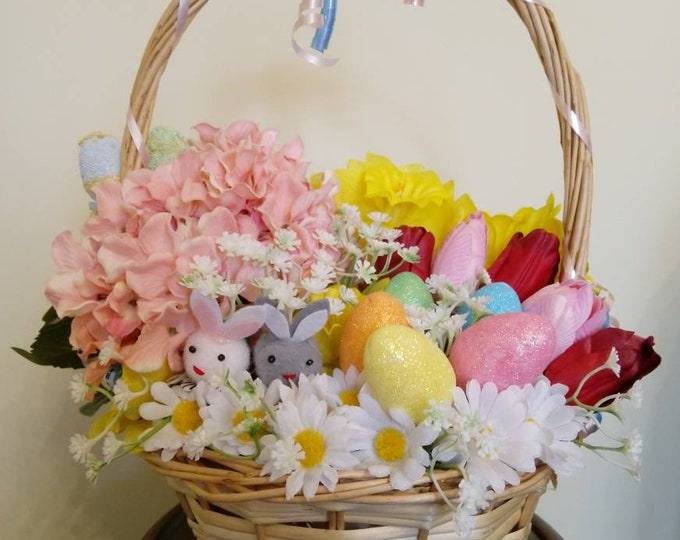 Easter Bunny Basket - Pink and White