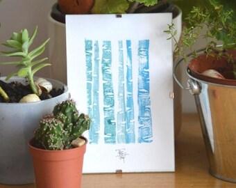 The language of trees - illustration linocut