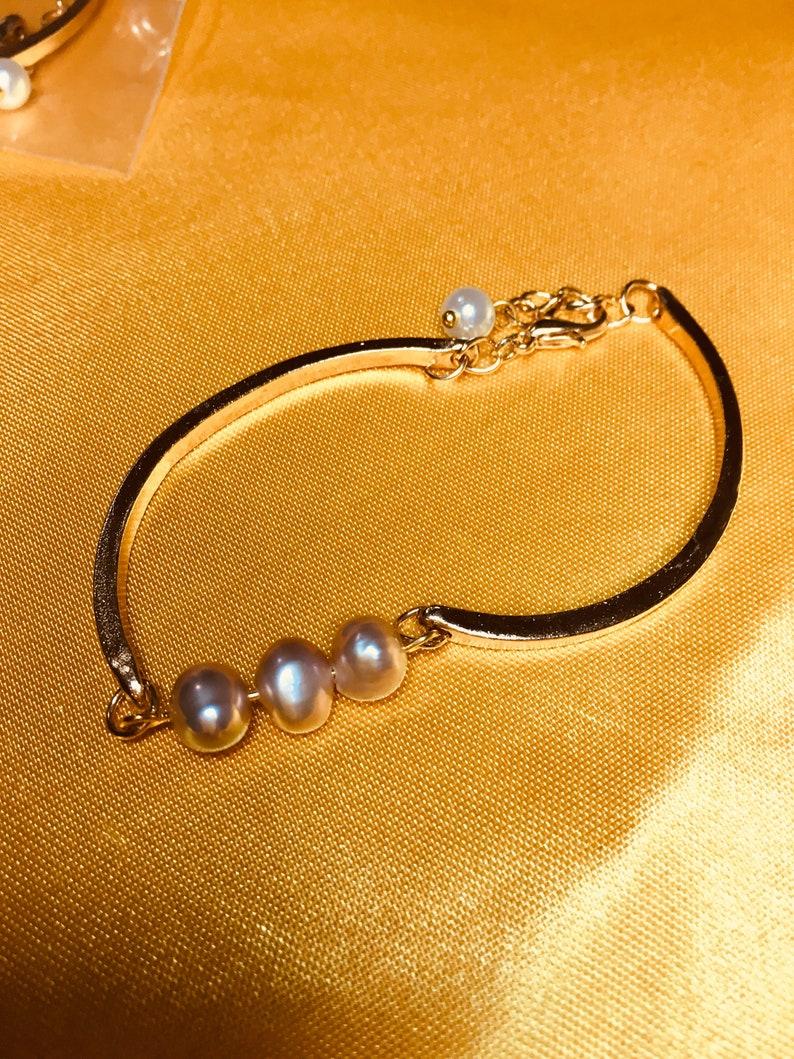 Stylish bangle  bracelets with genuine pearls & natural image 1