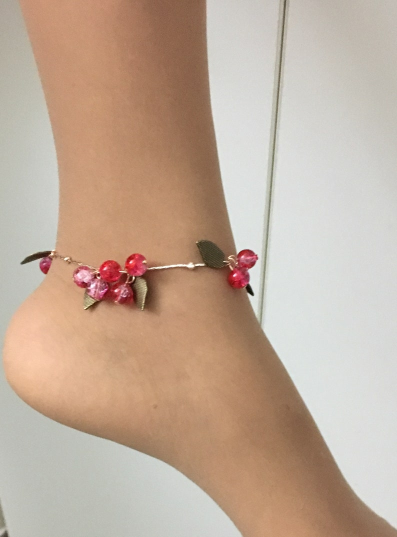 Red shiny beautiful womens anklet   Bohewear  Bohemian image 0