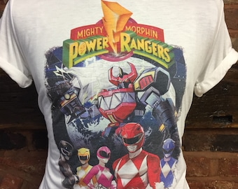 00c05327b45 Mighty Morphin Power Rangers - White T-Shirt. Men s   Women s all sizes