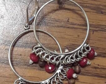 Vintage silver hoop dangle leverback earrings