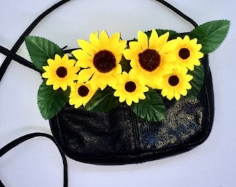 Leather vintage handbag with sunflowers