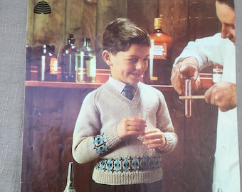 Vintage Patons Totem Double Crepe or Double Knitting 9121 Children's Patterned V Neck Jumper 4 - 9 years 24 - 28 in  Knitting Pattern Book