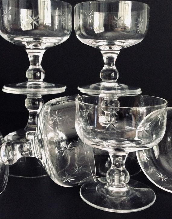 NOS Antique Vtg MCM Starburst Hand Blown Etched JAPAN Shot Glasses 8