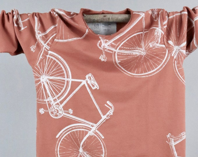 Featured listing image: Long sleeve shirt brown color with hand printed bicycle M - XL - Bicycle Print - Screen printed shirt - Hand printed shirt