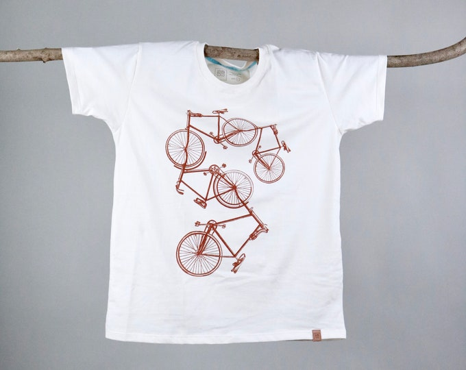 Featured listing image: Organic ecru T-shirt with hand printed bicycle XS-XL - Bicycle Print - Screen printed shirt - Hand printed T-shirt - Handmade in Croatia