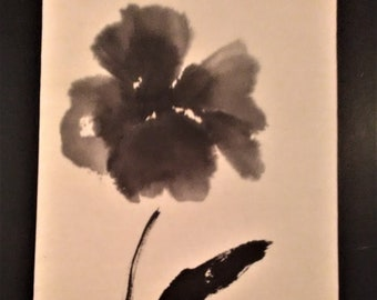 Painting flower India ink on rice paper