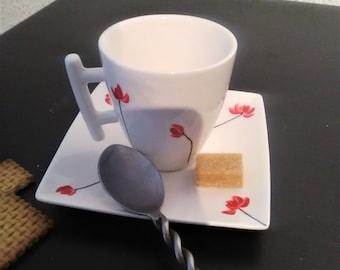 set of 2 cups, coffee or tea saucer, lotus flower