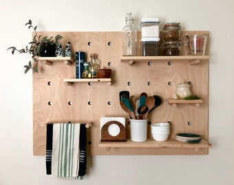 "Modern Wood Pegboard Shelf: Large Rectangle 36"" x 48"" / Minimalist Shelving / Trendy Wall Shelf / Wooden Wall Shelf"