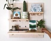"Modern Wood Pegboard Shelf / Medium Square 24"" x 24"" / Minimalist shelving / Trendy wall shelf / Wooden Entryway shelf / Plant shelf"