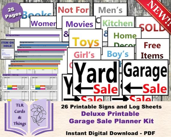 Garage Sale Planner Printable Kit Yard 26