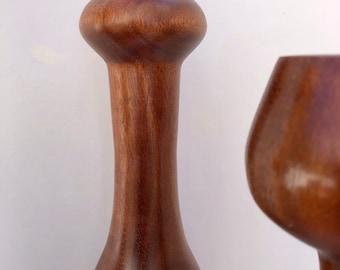 Custom mahogany turned candlestick set of four