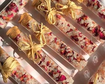 rose bath salts bridal shower favors wedding favors weddings natural organic soaks salts detox spa gift set spa party foot soak self care