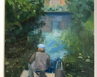 Fishing in Moscow. Plein air