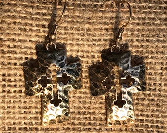 Hammered Gold Cross Earrings