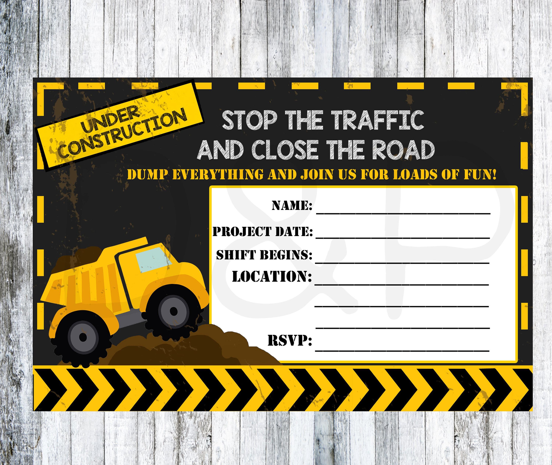 Construction Blank Invitations DIY Birthday Invitation Dump