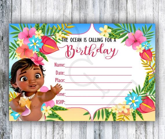 Baby Moana Inspired Blank Invitations DIY Birthday
