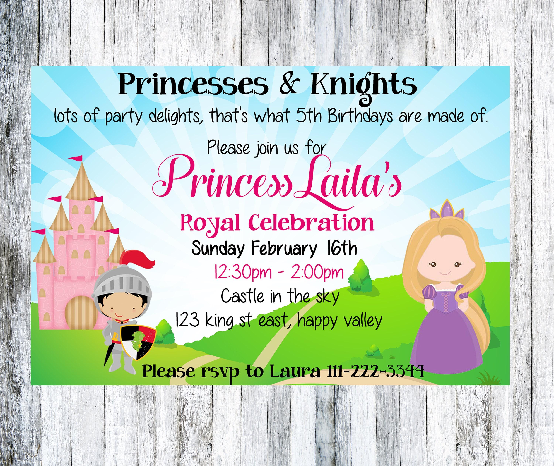 Księżniczka I Rycerze Zaproszenia Urodzinowe Royal Pierwsze Etsy