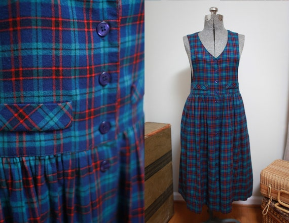 90s Plaid Jumper Apron Dress, sz 4 | Blue and Red
