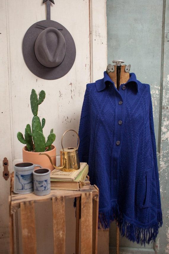 70s Knit Sweater Cape | Hippie Boho Sweater Cape C