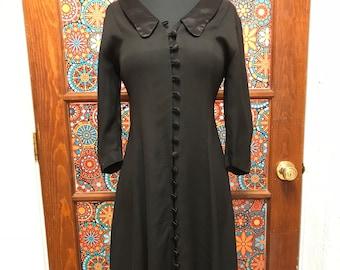 Collared Black Front Button Dress Size 6P