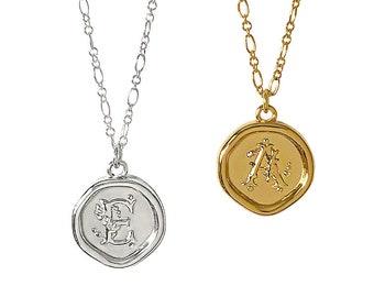 Insignia Pendant Necklaces, Côté Caché, Initial Pendant necklace, Sterling Silver, Coin Necklace, Wax Seal Necklace, Designer Jewellery